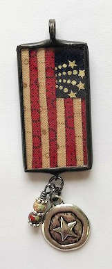 """7/8"""" x 1 1/2"""" US Flag Pendant with Bling"""