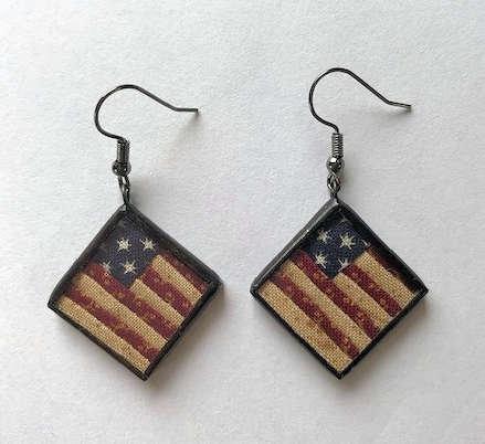 "3/4"" US Flag Earrings"