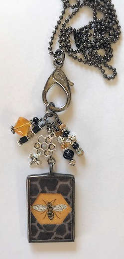 """1"""" x 1 1/2"""" Bee Pendant with lots of Bling"""