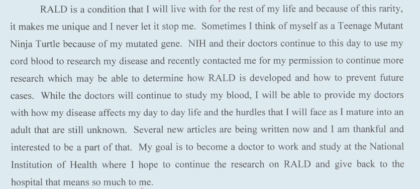 Excerpt form Avery Ayan's middle school reserach paper on RALD syndrom and the impact it had on her.