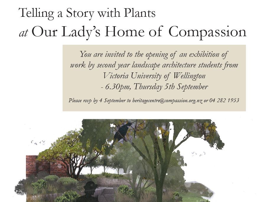 Landscape architecture student exhibition at the Home of Compassion, Island Bay