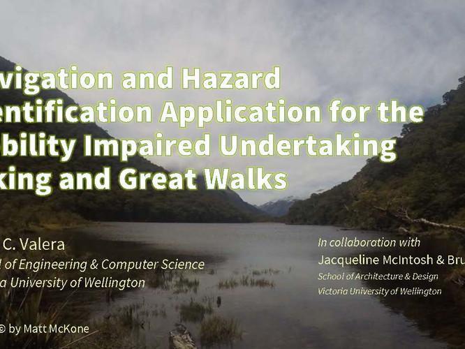 Alvin Valera presents Enabling Wilderness app at HiNZ Conference.