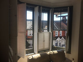 shutters added to sash window bay St Leonards on sea