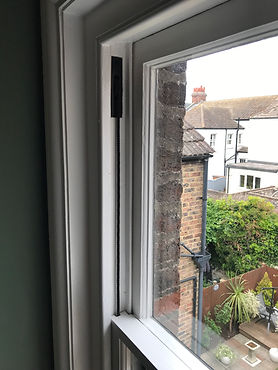 Sash window repair near me finished with black cord and pulleys