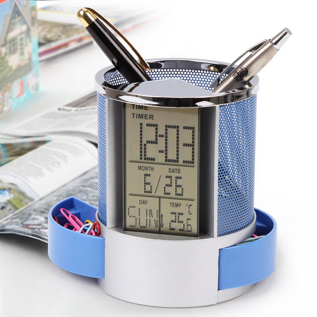 Multifunctional Pen Holder with Clock
