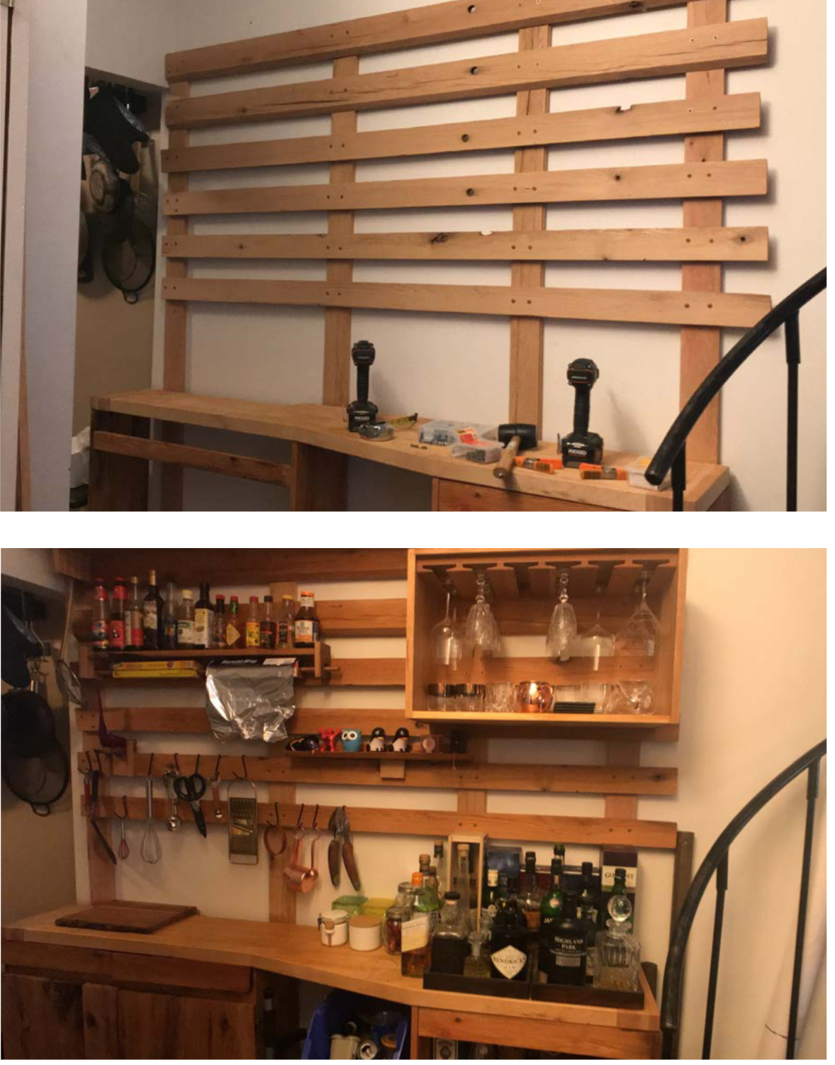 Oak French Cleat Kitchen Bar
