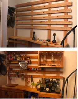 Oak French Cleat Kitchen Bar