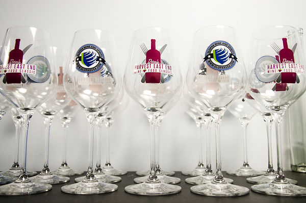 Glopak Wine and Spirits decorated tasting glasses