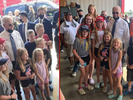 Biden Gets Trolled Hilariously by Pre-Teens Wearing Pro-Trump T-Shirts & Hats at 9/11 Photo Op