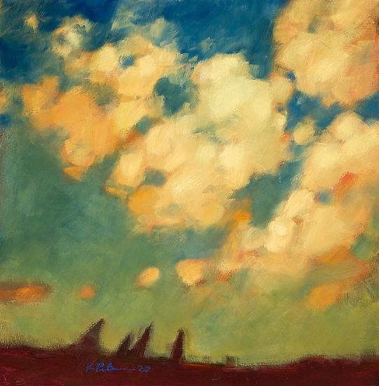 "Cloudy Evening, (15"" x 15"") Giclée Print"