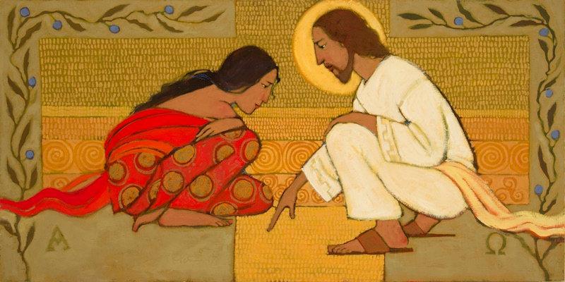"""Jesus and the Woman Taken, (21"""" x 10.5"""") Giclée Print"""