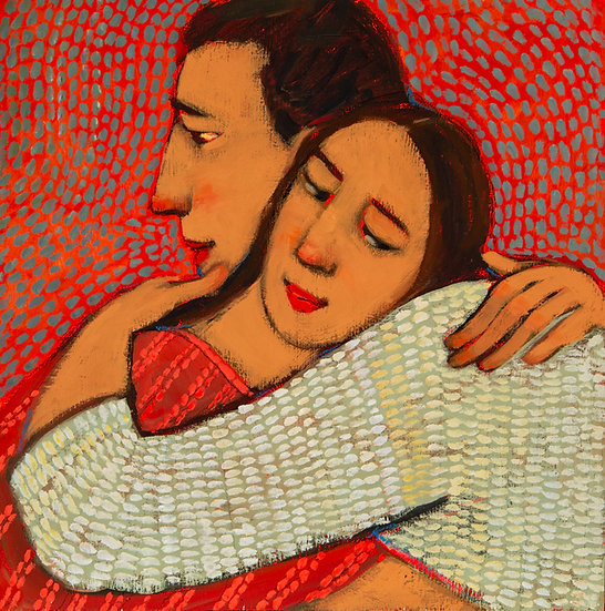 "Hugs/Social Nearness III, (17 x 17"") Giclée Print"
