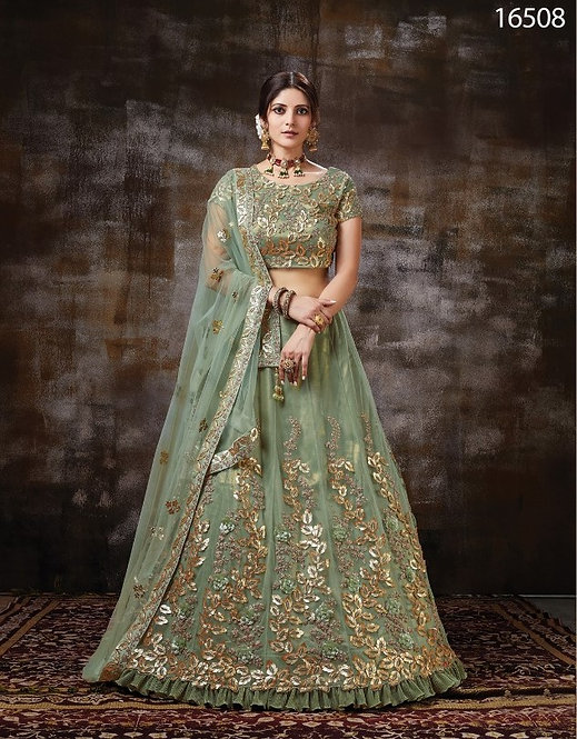 GREEN SATIN SILK NET LEHENGA