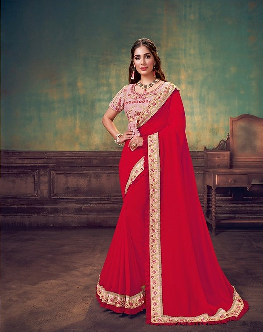 RED & PINK SILK GEORGETTE SAREE