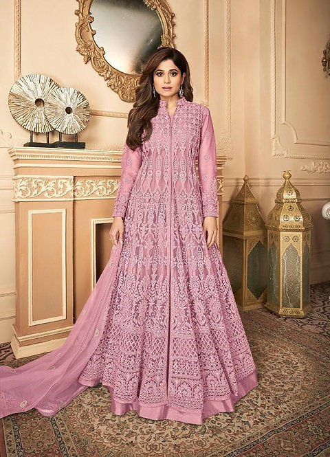 PINK EMBROIDERED PREMIUM NET ANARKALI SUIT