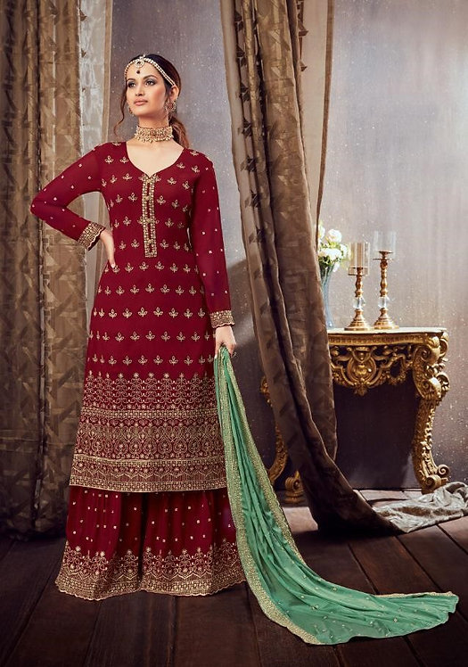 MAROON GEORGETTE EMBROIDERED PARTY WEAR SUIT