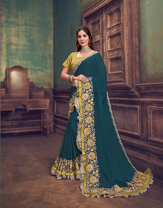 BLUE & YELLOW SILK GEORGETTE SAREE