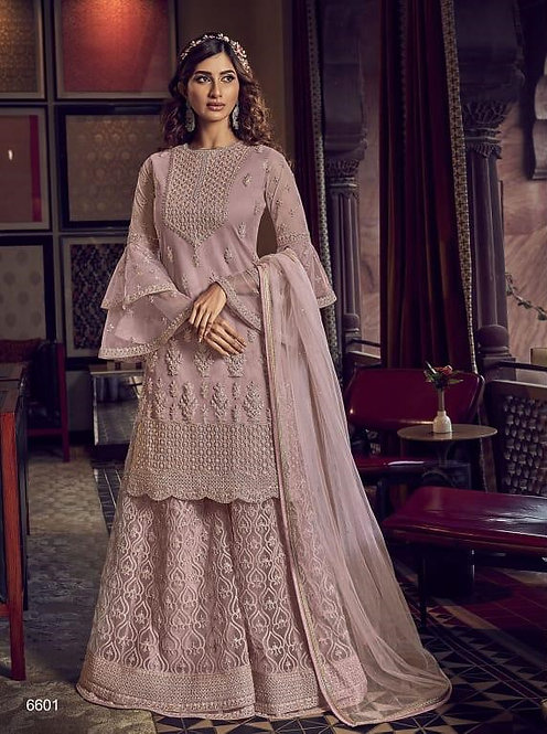 MAUVE NET EMBROIDERED PAKISTANI PALAZZO SUIT