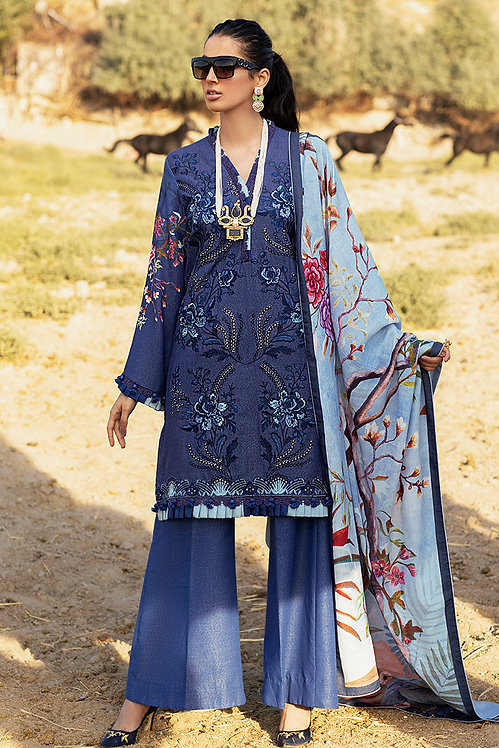 BLUE EMBROIDERED & DYED KARANDI SALWAR SUIT