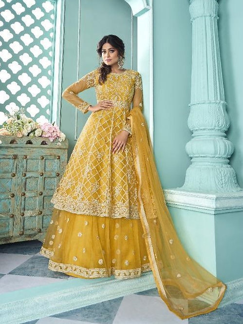 YELLOW EMBROIDERED NET SKIRT STYLE SUIT