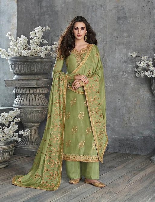 GREEN EMBROIDERED SILK SUIT
