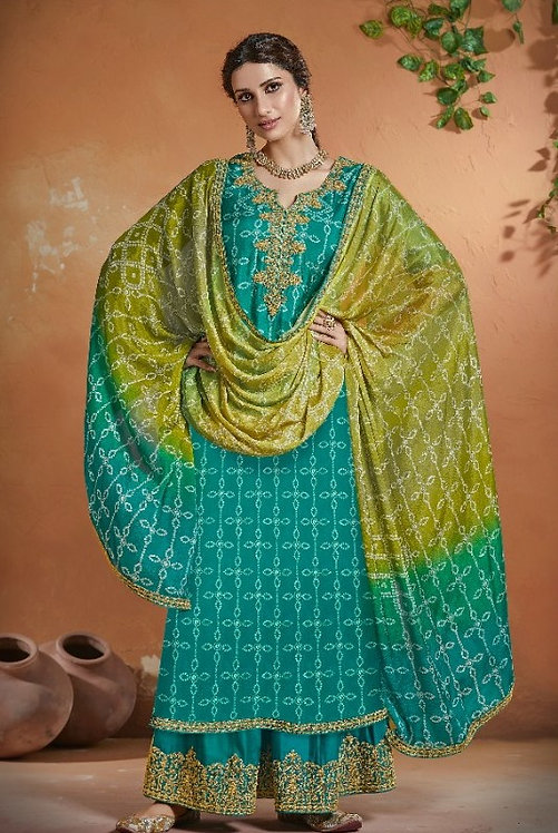 BLUE GREEN EMBROIDERED TUSSER SILK SUIT