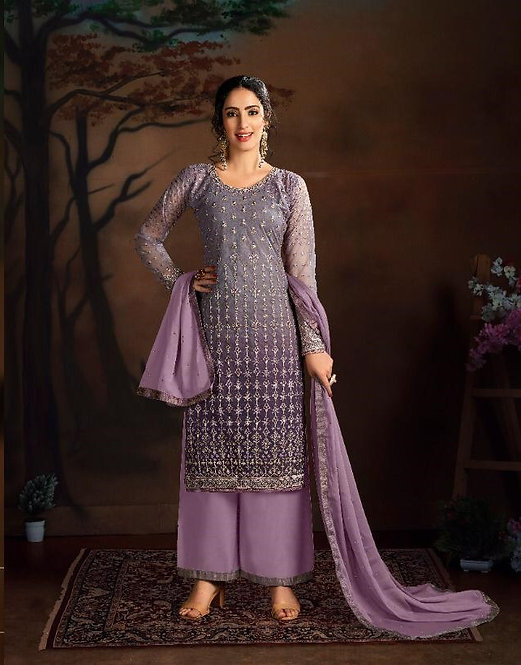 PURPLE EMBROIDERED BUTTERFLY NET SUIT