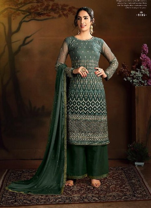 GREEN EMBROIDERED BUTTERFLY NET SUIT