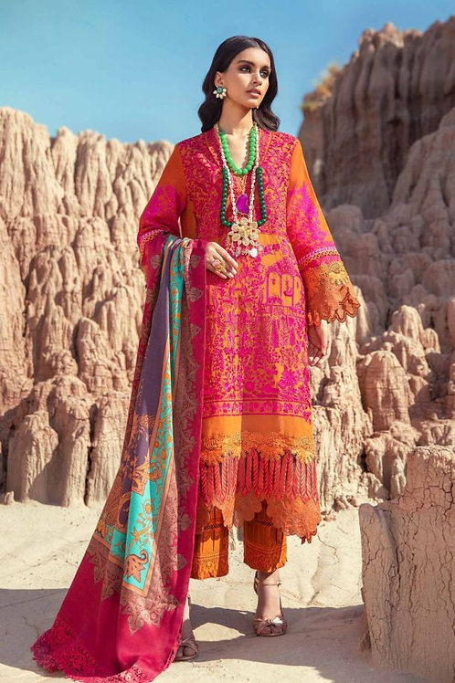 PINK & ORANGE SLUB EMBROIDERED WINTER LUXURY SUIT