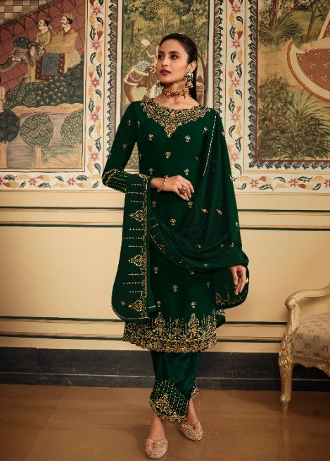 GREEN GEORGETTE EMBROIDERED SUIT