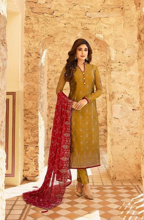 YELLOW & RED JACQUARD SUIT WITH HEAVY DUPATTA