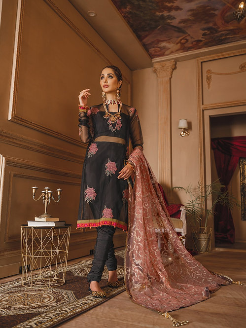 BLACK EMBROIDERED ORGANZA DYED RAW SILK SUIT