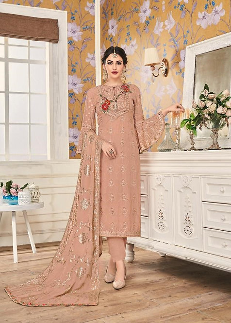PEACH FAUX GEORGETTE EMBROIDERED SALWAR SUIT