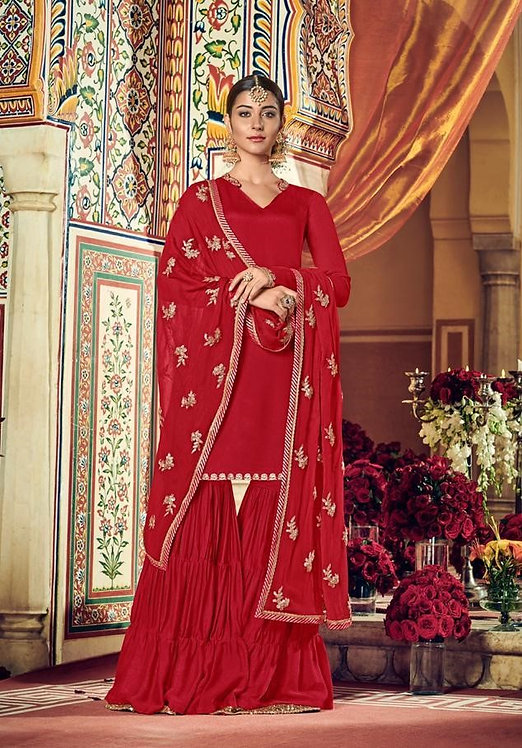 RED GEORGETTE DESIGNER PARTY WEAR SUIT