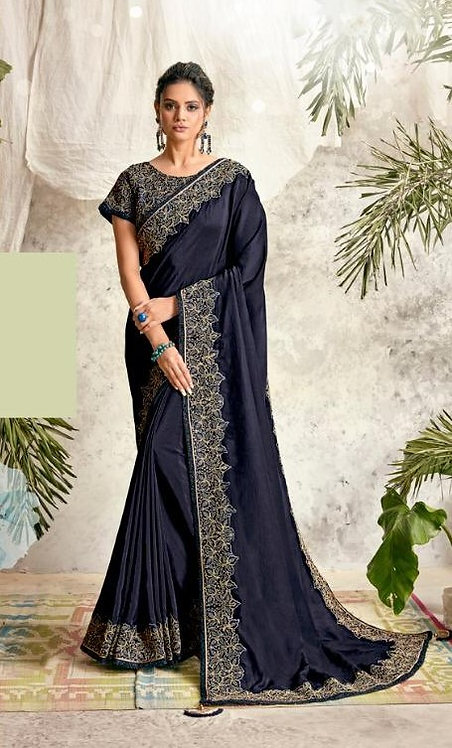NAVY BLUE SILK GEORGETTE SAREE