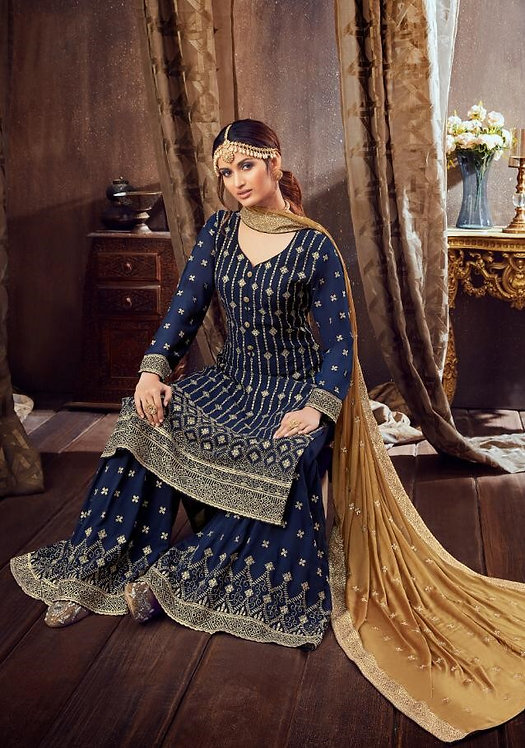 BLUE GEORGETTE EMBROIDERED PARTY WEAR SUIT
