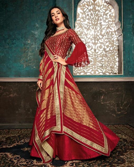 RED SILK DESIGNER PARTY WEAR SUIT