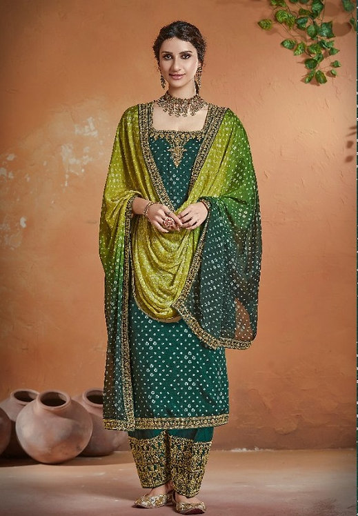 GREEN EMBROIDERED TUSSER SILK SUIT