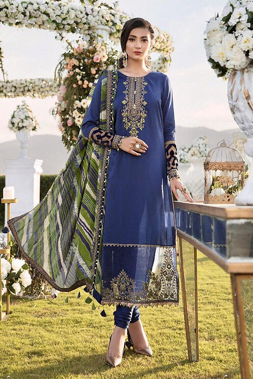 BLUE EMBROIDERED & DYED COTTON SATIN SUIT