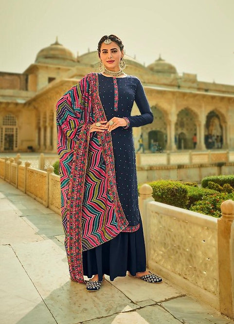 BLUE EMBROIDERED CHINNON & GEORGETTE SUIT