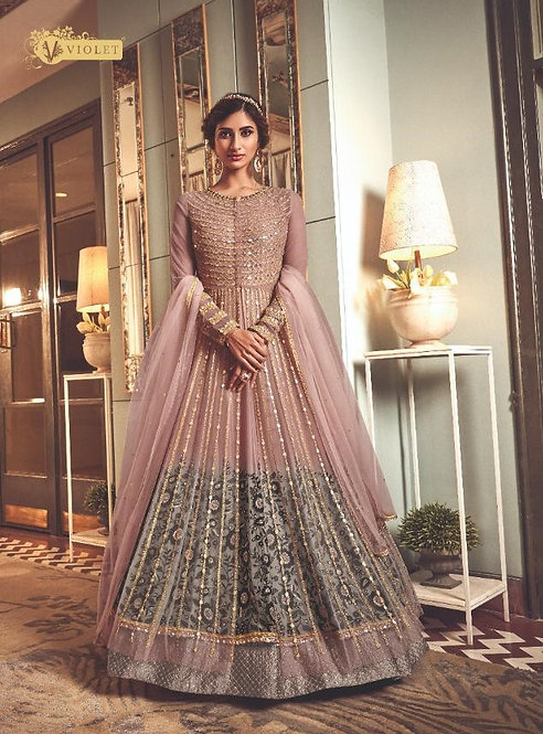 PINK NET EMBROIDERED FLOOR LENGTH ANARKALI SUIT