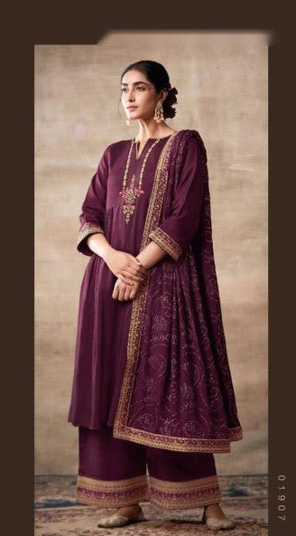 WINE EMBROIDERED TUSSER SILK SUIT