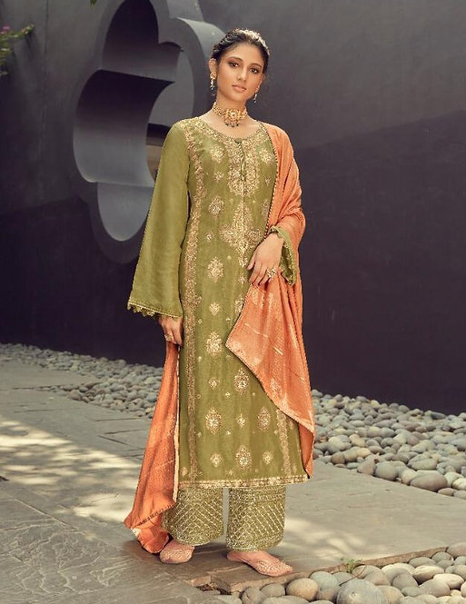 GREEN EMBROIDERED SILK JACQUARD SUIT