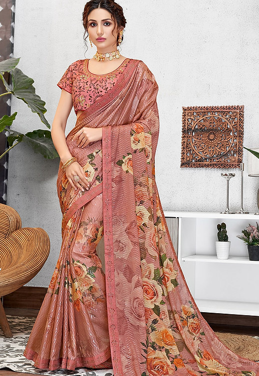 TRADITIONAL PINK SILK GEORGETTE PRINTED EMBROIDERED SAREE