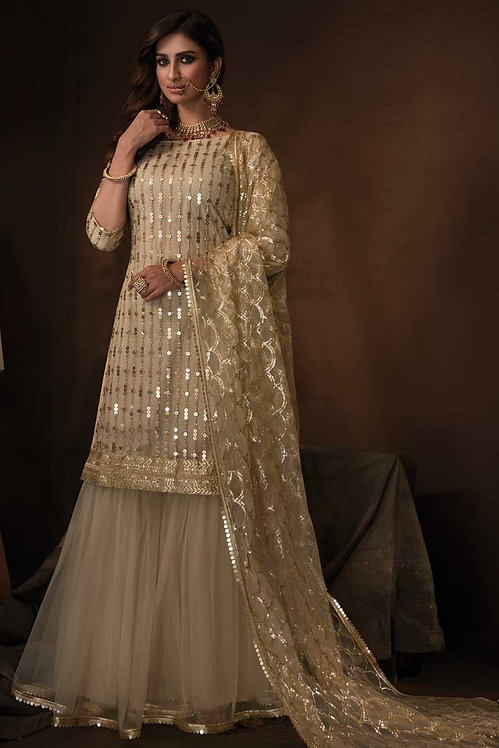 BEIGE NET SHARARA SUIT