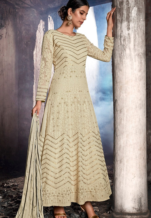 OFF WHITE GEORGETTE EMBROIDERED ANARKALI SUIT