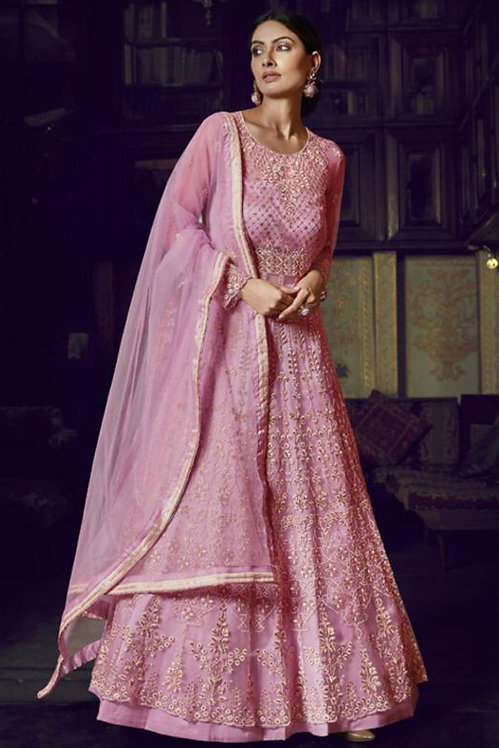 PINK NET & SILK EMBROIDERED HEAVY ANARKALI SUIT