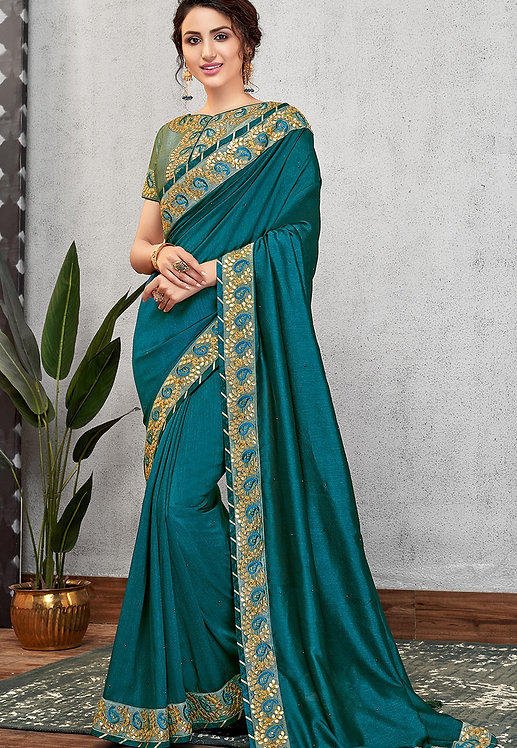 TURQUOISE GREEN SILK GEORGETTE EMBROIDERED SAREE