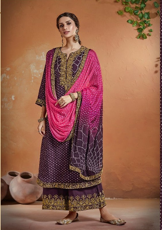 PURPLE PINK EMBROIDERED TUSSER SILK SUIT