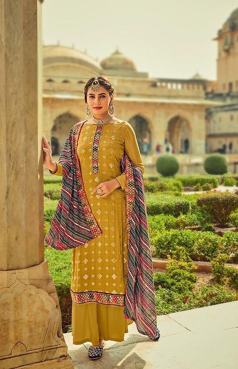 MUSTARD EMBROIDERED CHINNON & GEORGETTE SUIT